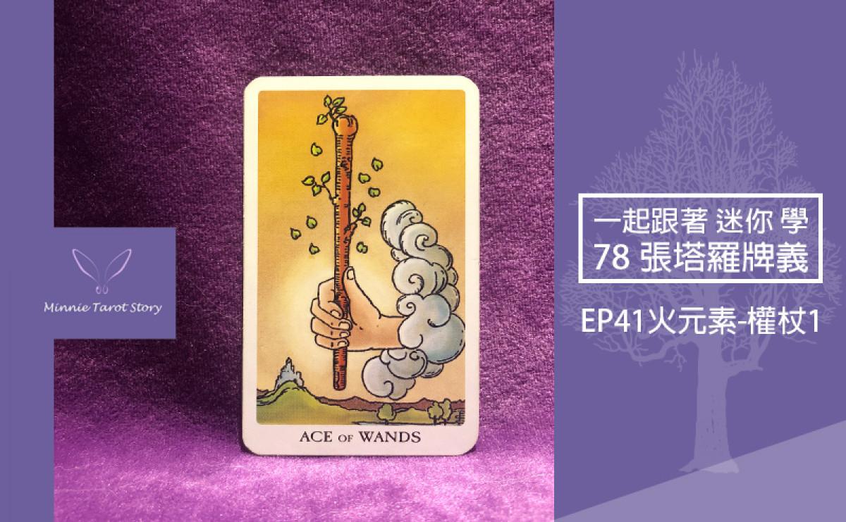 EP41塔羅78張塔羅牌義【火元素-權杖1/ACE】面對全新的開始,你是充滿期待且具有能量的!